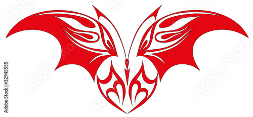 Vector illustration. Tattoo red butterfly