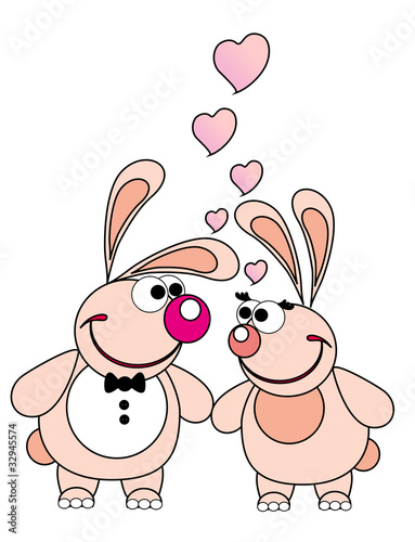 Vector illustration. Two valentine love rabbit.