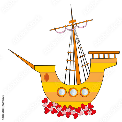 Vector illustration. Love sailing vessel