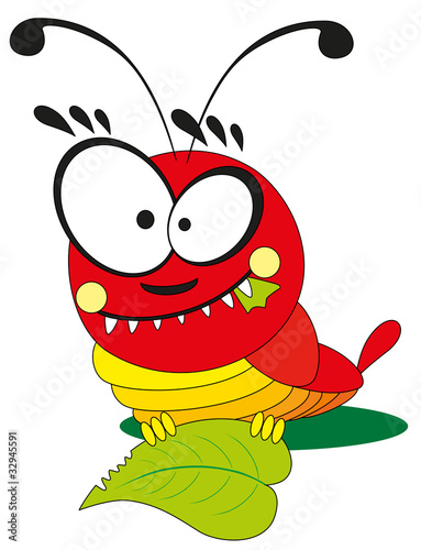 cartoon insect - catepillar on white background