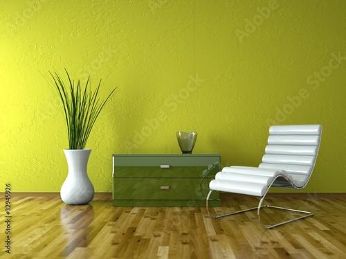 Wohndesign - Ledersessel vor grüner Wand