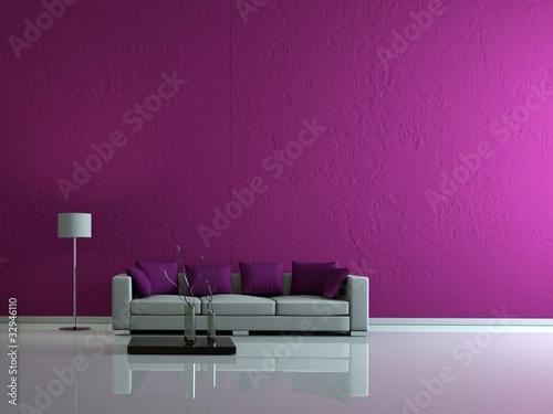 fototapete modernes wohnzimmer lila wand - liege • pixers.de, Moderne deko
