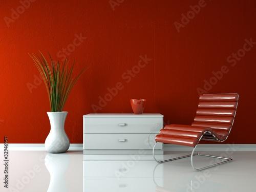 Modernes Design - Roter Liegestuhl