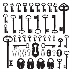 Silhouettes of old keys