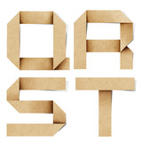 Origami alphabet letters recycled paper craft. poster