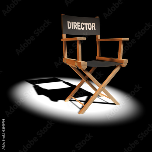 3d Directors chair in the spotlight