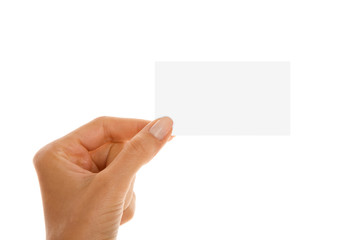 Close up of woman's hand with visiting card