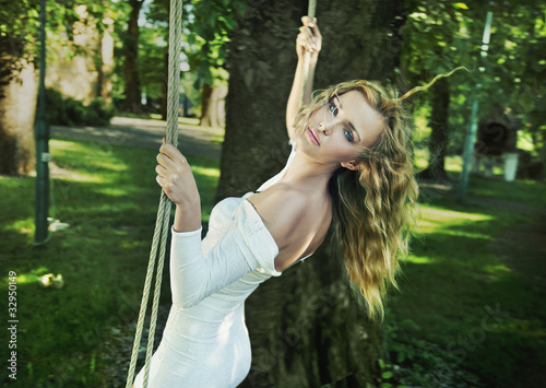 Beauty woman in garden