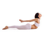 woman exercise bend yoga - cobra pose isolated