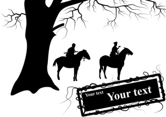 The silhouette of soldiers on horseback