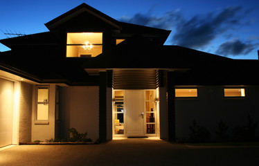 Modern House Exterior at Night 2
