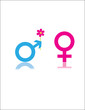 Red and blue male female symbols