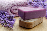 Lavender soap of Marseille with lavender flowers and soft towel