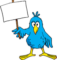 Cute cartoon bird holding a blank sign.