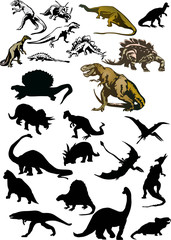 large set of isolated dinosaurs