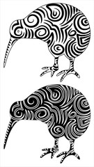 Kiwi Uccello Tatuaggio-Kiwi Bird Tattoo-Vector