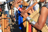 Native South American tribal group from Ecuador play music
