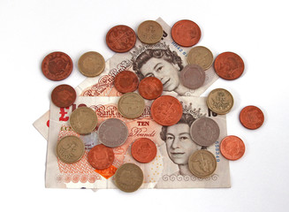 British (uk) currency on a plain background.