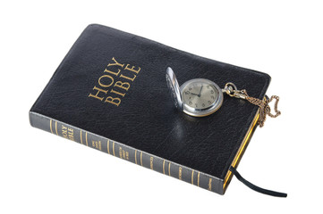 bible with  clock isolated on white background