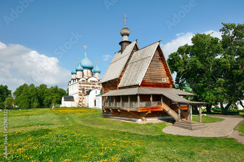 Wooden church Nikola's and Nativity Cathedral in Suzdal Kremlin.