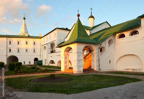 Sunny enter in bishop's Chambers of Suzdal Kremlin.