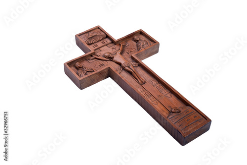 cross a crucifix is fretted from a tree