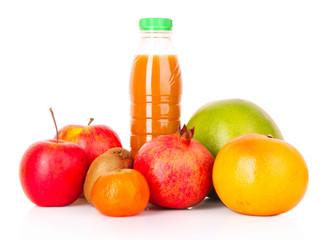 bottle of juice  with ripe fruits on white background