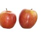 Fresh gred apples on a white background