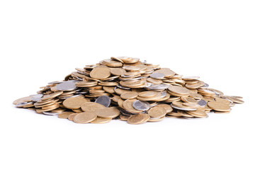 Heap of ukrainian coins isolated on white background