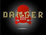 danger skull sign on the black background