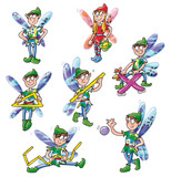 winged elves playing with numbers poster