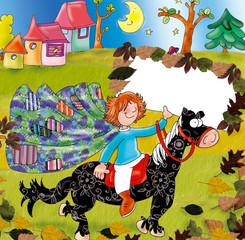 autumn, horse, black, rides, moon,