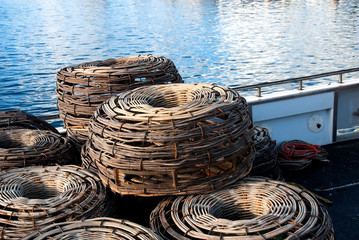 Old crayfish pots on a boat