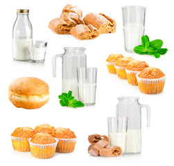 Set of fresh milk and baking products on white background
