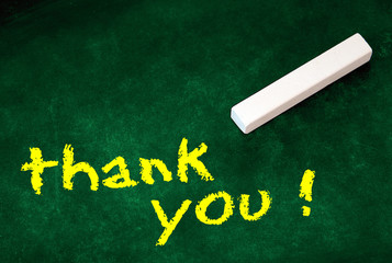 yellow thank you - on green chalkboard