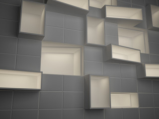 Abstract empty boxes in wall