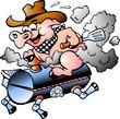 Pig riding on a BBQ barrel - 32974544