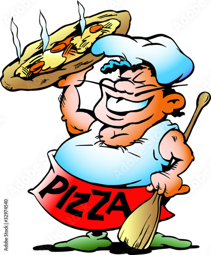 Vector: Pizza Baker with a giant pizza