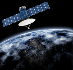 Artificial satellite in the background of the Earth