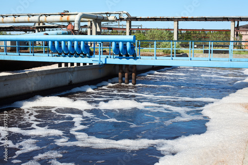 Water treatment plant with dirty sludge in sedimentation tank
