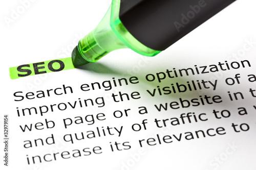 Leinwandbild Motiv Dictionary Definition Of SEO - Search Engine Optimization