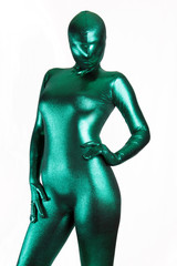 Green Metallic Zentai Fetish Girl