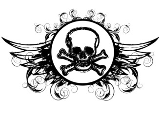 Skull Design flügel logo