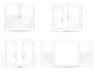 set of open and close windows isolated on white background