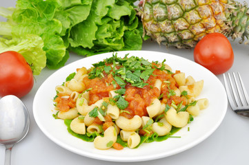 pasta and fruits