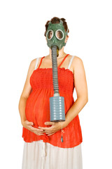 pregnant woman in gas-mask