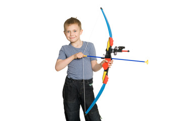Smiling boy holding a sbow