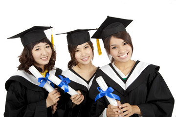 three asian Graduation Girls