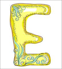 alphabet, golden  letter E