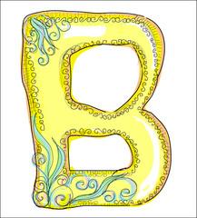 alphabet, golden  letter B